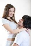Ragazzo e bella ragazza in maglietta bianca immagine stock