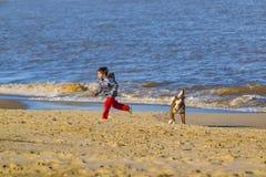 Ragazzo e cane alla spiaggia Immagini Stock