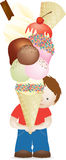 Ragazzo e gelato enorme illustrazione vettoriale