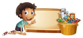 Ragazzo e giocattoli nel secchio illustrazione di stock
