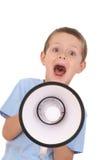 Ragazzo e megafono Fotografie Stock