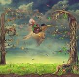 Ragazzo e Pelican.Fly. illustrazione di stock