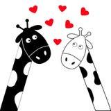 Ragazzo e ragazza bianchi della giraffa del nero sveglio del fumetto Coppie di Camelopard alla data Collo lungo Serie di caratter Fotografie Stock
