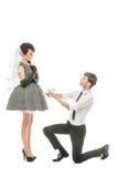 Ragazzo e ragazza che assomigliano alle bambole Fotografia Stock