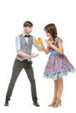 Ragazzo e ragazza che assomigliano alle bambole Immagine Stock Libera da Diritti