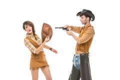 Ragazzo e ragazza che assomigliano alle bambole Fotografie Stock Libere da Diritti