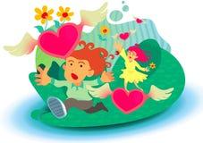 Ragazzo e ragazza che catturano i fiori assenti pilotati di amore Fotografia Stock Libera da Diritti