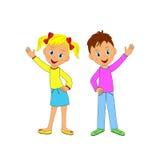 Ragazzo e ragazza che sorridono e che ondeggiano la loro mano Fotografia Stock
