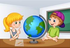 Ragazzo e ragazza che studiano geografia illustrazione vettoriale