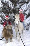 Ragazzo e ragazza con i cavalli Immagini Stock Libere da Diritti
