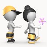 Ragazzo e ragazza con l'illustrazione del fiore 3D illustrazione vettoriale