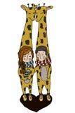 Ragazzo e ragazza della giraffa nell'amore Fotografia Stock Libera da Diritti