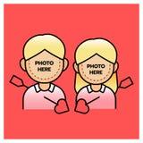 Ragazzo e ragazza delle coppie di Photobooth con la freccia, giorno felice dei valentine's Illustratore di vettore Immagine Stock