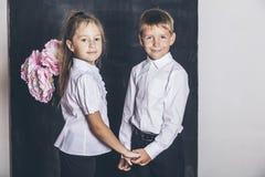 Ragazzo e ragazza felici dalla scuola elementare con i fiori in loro Immagine Stock Libera da Diritti
