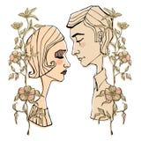 Ragazzo e ragazza romantici svegli Fotografia Stock Libera da Diritti