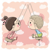 Ragazzo e ragazza sull'oscillazione royalty illustrazione gratis