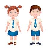 Ragazzo e ragazza in uniforme scolastico Fotografia Stock Libera da Diritti