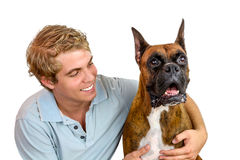 Ragazzo ed il suo cane fotografia stock