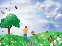 ragazzo ed il suo cane in il paesaggio di primavera Immagini Stock Libere da Diritti