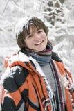 Ragazzo europeo di anni dell'adolescenza in sciarpa Fotografia Stock