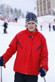 Ragazzo felice che gode nella neve Immagine Stock
