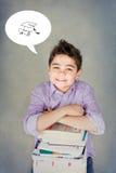 Ragazzo felice con i libri Fotografia Stock Libera da Diritti