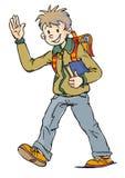 Ragazzo felice con il sacchetto ed il libro royalty illustrazione gratis