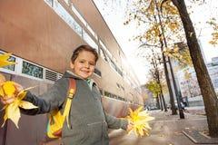 Ragazzo felice divertendosi con i mazzi delle foglie di acero Fotografie Stock Libere da Diritti