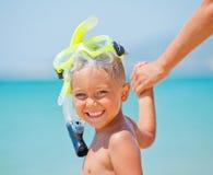 Ragazzo felice sulla spiaggia Immagine Stock Libera da Diritti