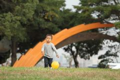 Ragazzo giapponese che dà dei calci ad una palla gialla sull'erba Fotografie Stock