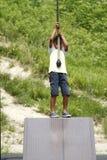 Ragazzo giapponese che gioca con la volpe di volo Fotografia Stock