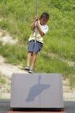 Ragazzo giapponese che gioca con la volpe di volo Fotografie Stock Libere da Diritti