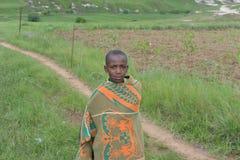 Ragazzo indigeno del Basotho dalla regione di Butha-Buthe di Lesoto fotografia stock