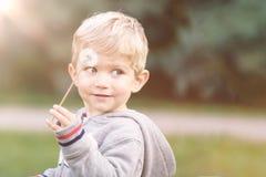 Ragazzo infantile che gioca con il dente di leone Immagine Stock