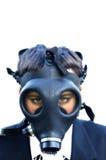 Ragazzo infelice in vestito e maschera antigas 1 Fotografia Stock Libera da Diritti