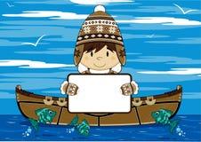 Ragazzo inuit del fumetto con il segno royalty illustrazione gratis