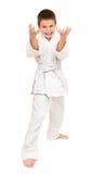 Ragazzo in kimono bianco Fotografia Stock Libera da Diritti