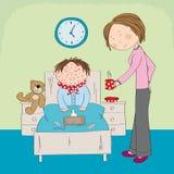 Ragazzo malato con varicella, il morbillo, il rubeola o le chiazze cutanee illustrazione vettoriale