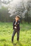 Ragazzo, molla, amore, fioritura, gioco, piacere, bambini, modo, bambino, divertente Fotografie Stock Libere da Diritti
