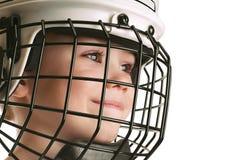 Ragazzo nel casco del hokey Fotografie Stock