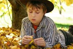 Ragazzo nel fogliame dei fogli di autunno Fotografia Stock Libera da Diritti