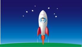Ragazzo nell'ondeggiamento di rocketship Fotografia Stock Libera da Diritti