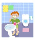 Ragazzo nella stanza da bagno illustrazione vettoriale