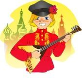 Ragazzo russo sul quadrato rosso Fotografia Stock