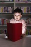 Ragazzo sorpreso dal libro d'ardore Fotografie Stock Libere da Diritti