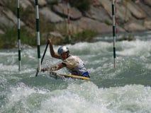 Ragazzo su una canoa Fotografia Stock