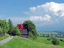 Ragazzo sulla bicicletta in paesino di montagna di estate Fotografia Stock