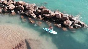Ragazzo Sun-abbronzato attraente su sup Vista aerea dell'uomo allegro che galleggia sul sup Fuco sparato dell'acqua di mare crist archivi video