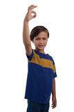 Ragazzo sveglio che gesturing il segno giusto della mano Fotografia Stock Libera da Diritti