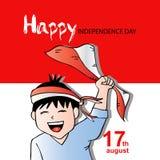 Ragazzo sveglio con la bandiera dell'Indonesia per la festa dell'indipendenza Fotografia Stock